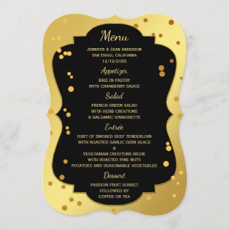 Chic Gold and Black Confetti Menu Card