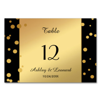 Chic Gold and Black Confetti Table Number Card