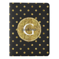 Chic Gold and Black Dots Monogram Extra Large Moleskine Notebook