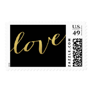 Chic Gold and Black Love Postage