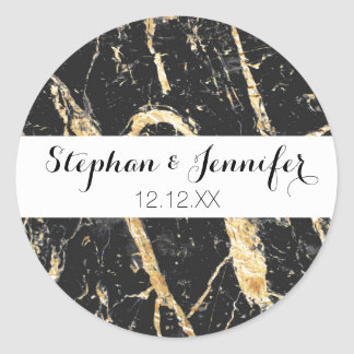 Chic Gold and Black Marble Pattern Classic Round Sticker