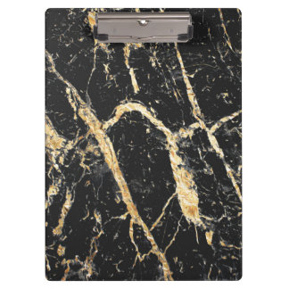Chic Gold and Black Marble Pattern Clipboard