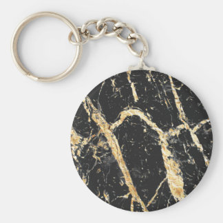 Chic Gold and Black Marble Pattern Keychain
