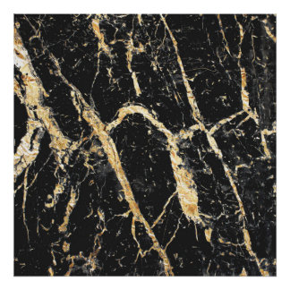 Chic Gold and Black Marble Pattern Poster