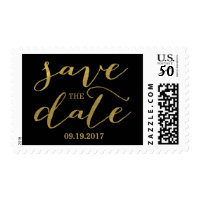 Chic Gold and Black Save the Date Postage