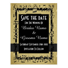 Chic Gold And Black Save The Date Postcard at Zazzle