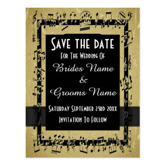 Chic gold and black save the date postcard