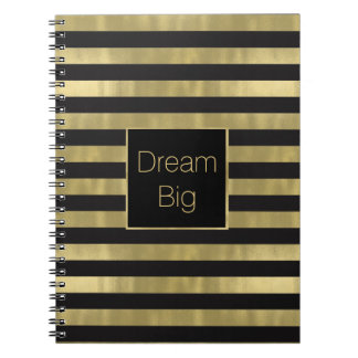 Chic Gold and Black Stripes Dream Big Personalized Spiral Notebook