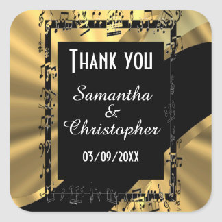 Chic gold and black thank you square sticker