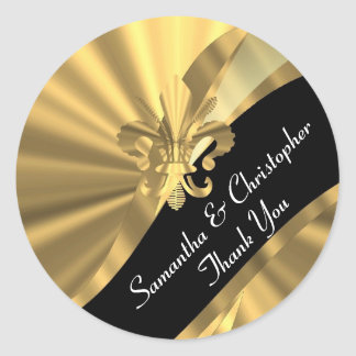 Chic gold and black wedding seal classic round sticker