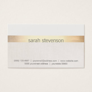 "Chic Gold and Linen Texture ""Look"" Striped Modern Business Card"