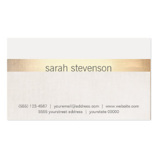 "Chic Gold and Linen Texture ""Look"" Striped Modern Double-Sided Standard Business Cards (Pack Of 100)"