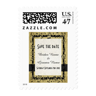 Chic gold and music notes save the date postage