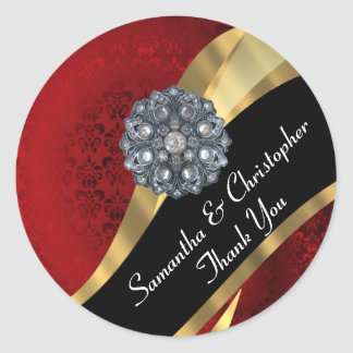 Chic gold and red damask wedding seal classic round sticker