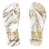 Chic Gold and White Marble Team Bride Bachelorette Flip Flops