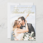 """Chic Gold and White Photo Wedding Thank You Card<br><div class=""""desc"""">This chic, modern photo wedding thank you card template features an elegant script in a golden hue. We chose this tone with the color picker in the editing tools, and there are almost limitless shades in this spectrum and others you can choose, so please consider your own taste and experiment....</div>"""
