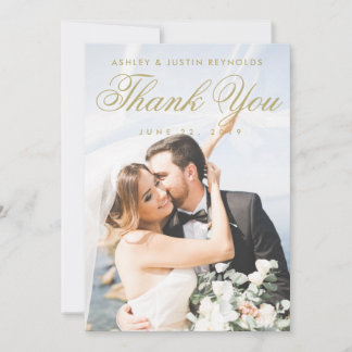 Chic Gold and White Photo Wedding Thank You Card