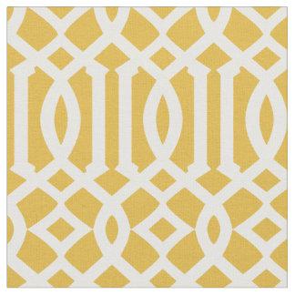 Chic Gold and White Trellis Lattice Pattern Fabric