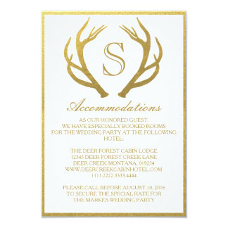 CHIC GOLD | ANTLER WEDDING ACCOMMODATION CARD