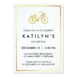 Chic Gold Bicycle with Gold and Silver Polka Dots Card