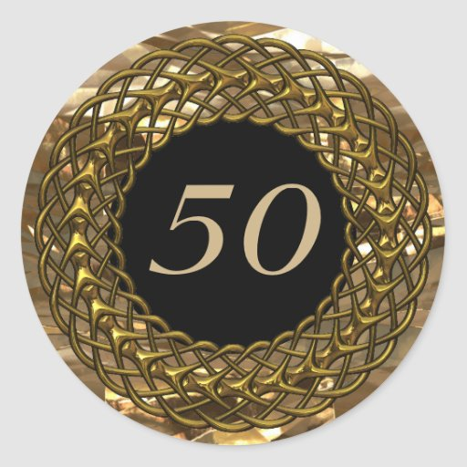 Chic Gold & Black 50th Wedding Anniversary Stickers