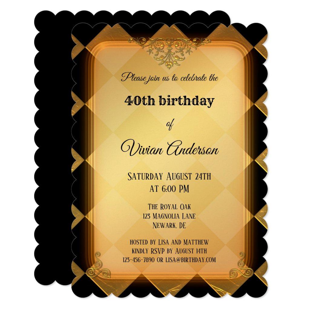 Chic Gold Black Checkered Birthday Invitation
