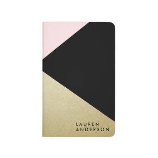 Chic Gold Black Monogram Custom Journal Notebook