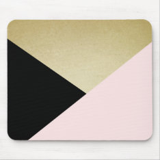 Chic Gold Black Pink Abstract Pattern Mouse Pad at Zazzle