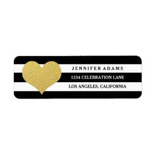 Chic Gold | Black Stripe Return Address Labels at Zazzle