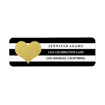 antiquechandelier Chic Gold | Black Stripe Return Address Labels
