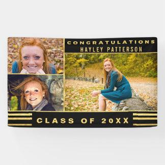 Chic Gold Black Stripes Graduation Photo Banner