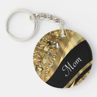 Chic gold bling mothers day keychain