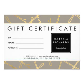 Chic Gold Bobby Pins Hair Salon Gift Certificate Card