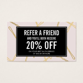 Chic Gold Bobby Pins Hair Salon Pink Referral Card