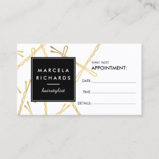 Chic Gold Bobby Pins Hair Stylist Appointment Card