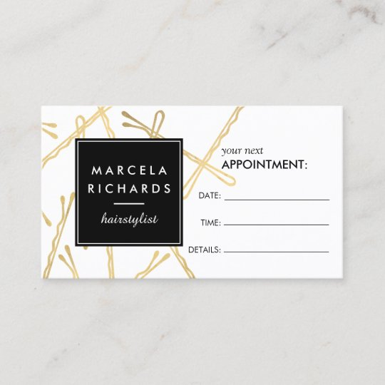 chic gold bobby pins hair stylist appointment card zazzle com