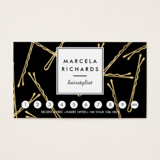 Chic Gold Bobby Pins Hair Stylist Black Loyalty Business Card