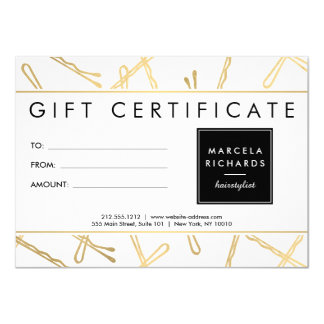 Chic Gold Bobby Pins Hair Stylist Gift Certificate Card