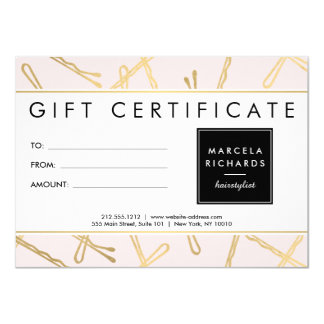 Chic Gold Bobby Pins Hair Stylist Pink Gift Card