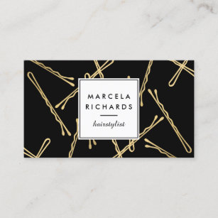 Hairstylist business cards zazzle chic gold bobby pins hair stylist salon black business card colourmoves