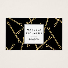 Chic Gold Bobby Pins Hair Stylist Salon Black Business Card at Zazzle