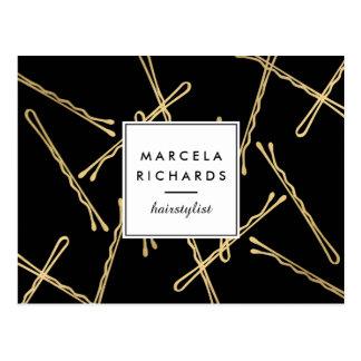 Chic Gold Bobby Pins Hair Stylist Salon Black Postcard
