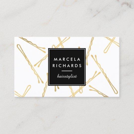 Chic Gold Bobby Pins Hair Stylist Salon Business Card Zazzle Com