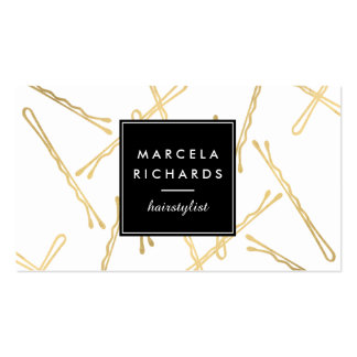 Chic Gold Bobby Pins Hair Stylist Salon Business Card
