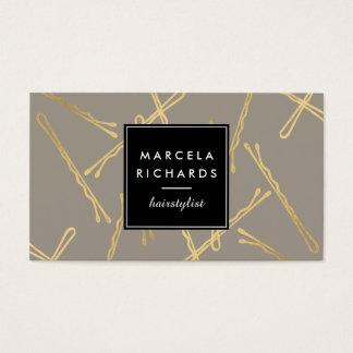 Chic Gold Bobby Pins Hair Stylist Salon Gray Business Card