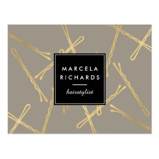 Chic Gold Bobby Pins Hair Stylist Salon Gray Postcard