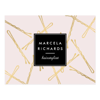 Chic Gold Bobby Pins Hair Stylist Salon Pink Postcard