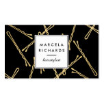 Chic Gold Bobby Pins Hairstylist, Hair Salon II Double-Sided Standard Business Cards (Pack Of 100)