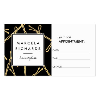 Chic Gold Bobby Pins Hairstylist II Appointment Business Card