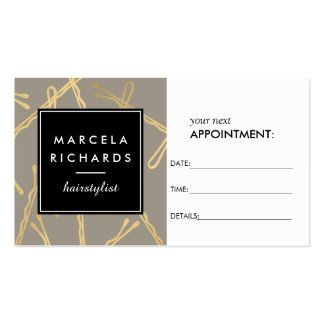 Chic Gold Bobby Pins Hairstylist III Appointment Business Card